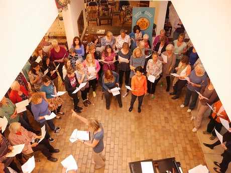 Rowena Whitehead leading the Cycle of Songs Choir